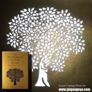 Laser cutting on The Freethinker's Prayer Book by Khushwant Singh