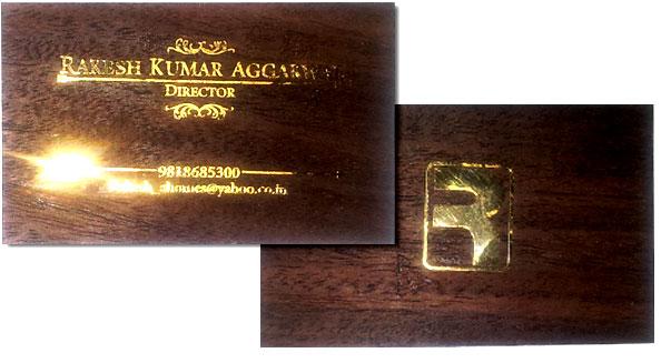 Wooden business card with gold metal sticker jai gangeya wooden visiting card colourmoves