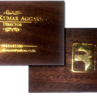 Wooden Business Card with Gold Metal Sticker